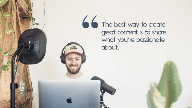 "A man recording a vlog, with the quote, ""The best way to create great content is to share what you're passionate about""A man recording a vlog, with the quote, ""The best way to create great content is to share what you're passionate about"""
