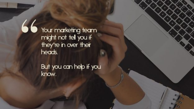 """A young woman with her head in her hands, and the caption, """"Your marketing team might not tell you if they're in over their heads. But you can help if you know.'"""